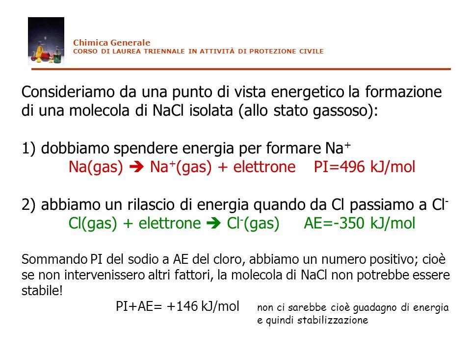 Consideriamo da una punto di vista energetico la formazione di una molecola di NaCl isolata (allo stato gassoso): 1) dobbiamo spendere energia per for
