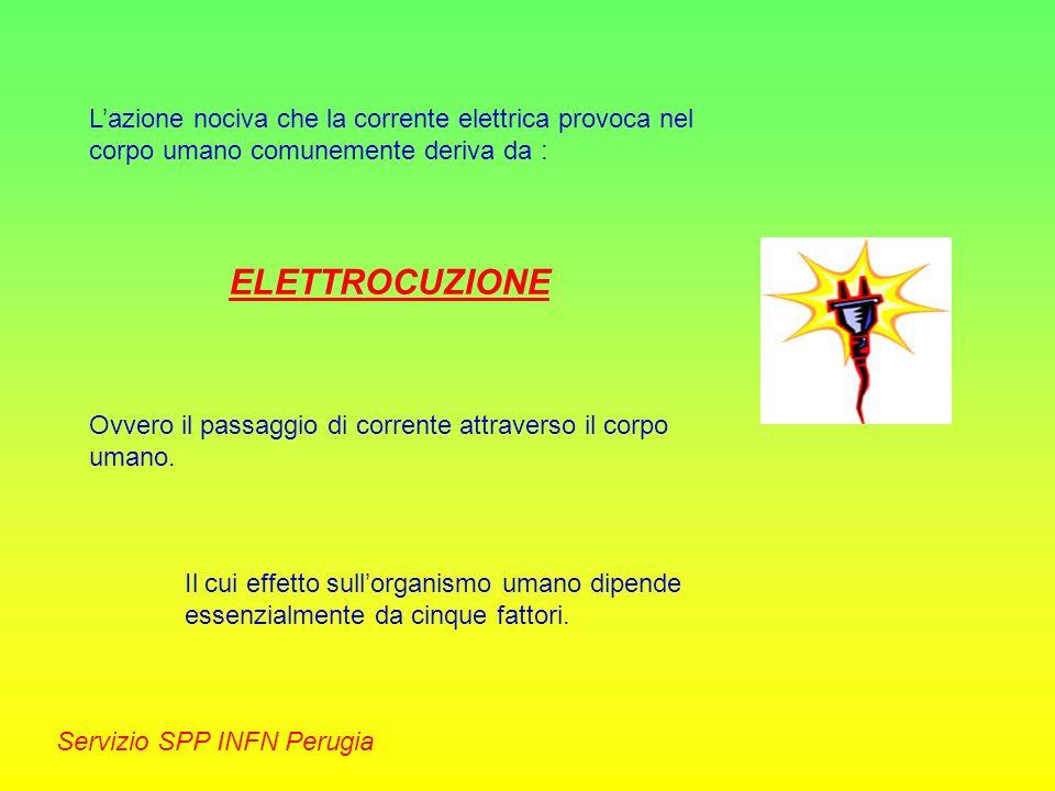 Servizio SPP INFN Perugia Le cause di un infortunio di natura elettrica sono quasi sempre da attribuire ad un cattivo isolamento degli impianti o delle apparecchiature, in virtù del quale avviene un passaggio di corrente tra la parte in tensione e la messa a terra.