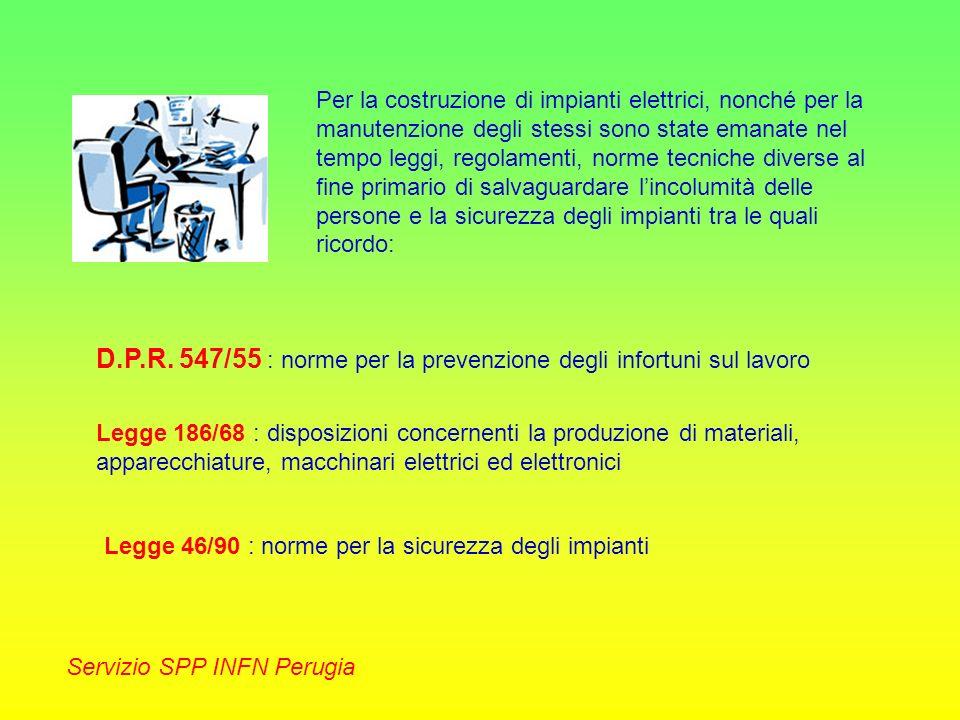 Servizio SPP INFN Perugia La messa a terra di un impianto elettrico è senza dubbio il più importante strumento antinfortunistico atto a proteggere le persone dal contatto indiretto.
