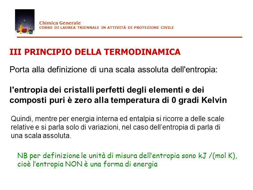 III PRINCIPIO DELLA TERMODINAMICA Porta alla definizione di una scala assoluta dell'entropia: l'entropia dei cristalli perfetti degli elementi e dei c
