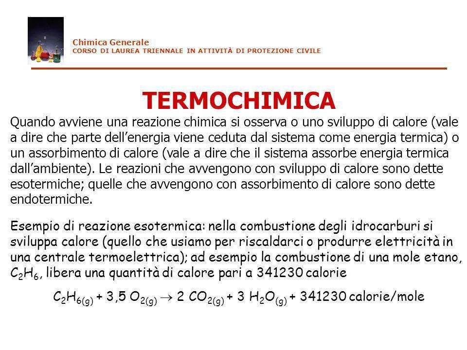 TERMOCHIMICA Quando avviene una reazione chimica si osserva o uno sviluppo di calore (vale a dire che parte dellenergia viene ceduta dal sistema come