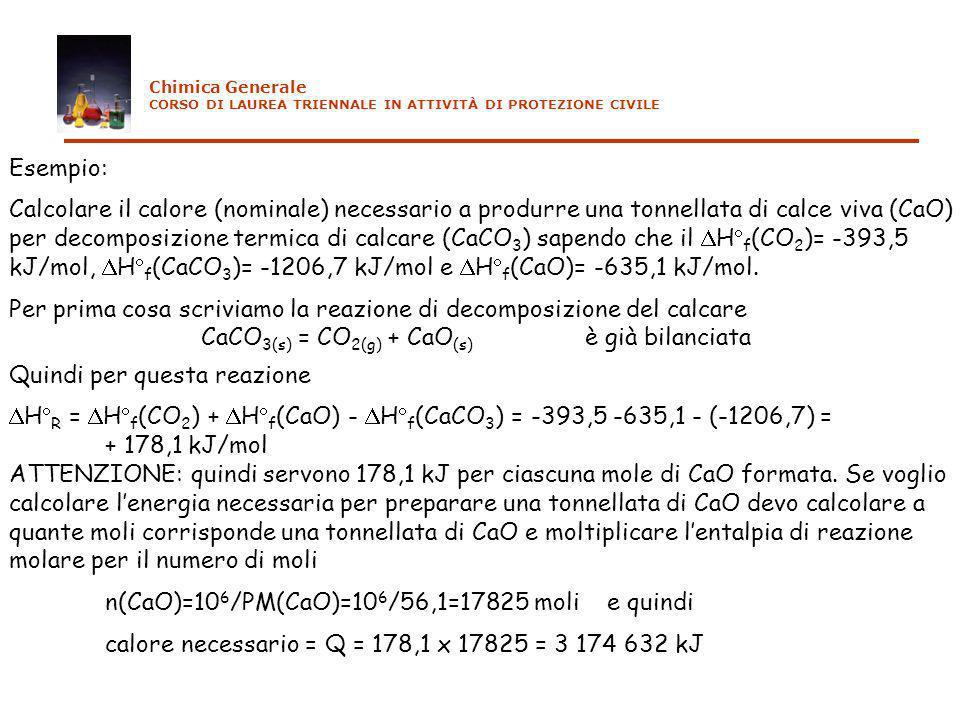 Esempio: Calcolare il calore (nominale) necessario a produrre una tonnellata di calce viva (CaO) per decomposizione termica di calcare (CaCO 3 ) sapen