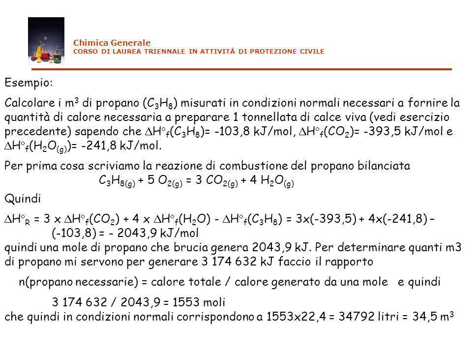Esempio: Calcolare i m 3 di propano (C 3 H 8 ) misurati in condizioni normali necessari a fornire la quantità di calore necessaria a preparare 1 tonne