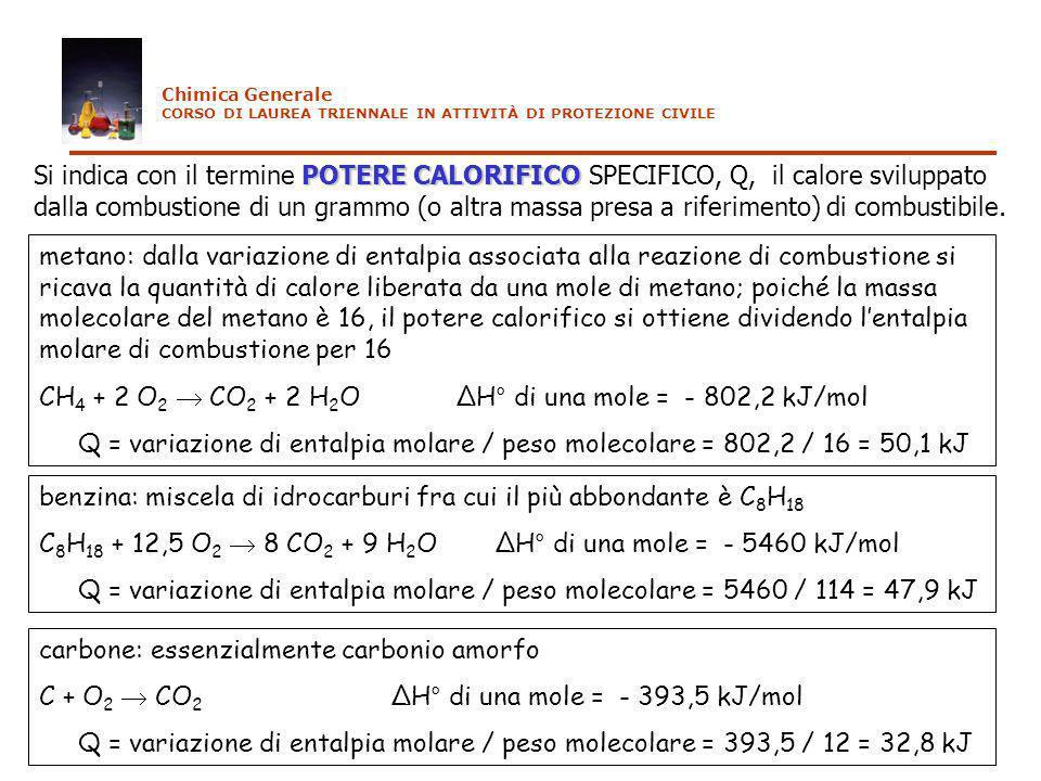 POTERE CALORIFICO Si indica con il termine POTERE CALORIFICO SPECIFICO, Q, il calore sviluppato dalla combustione di un grammo (o altra massa presa a