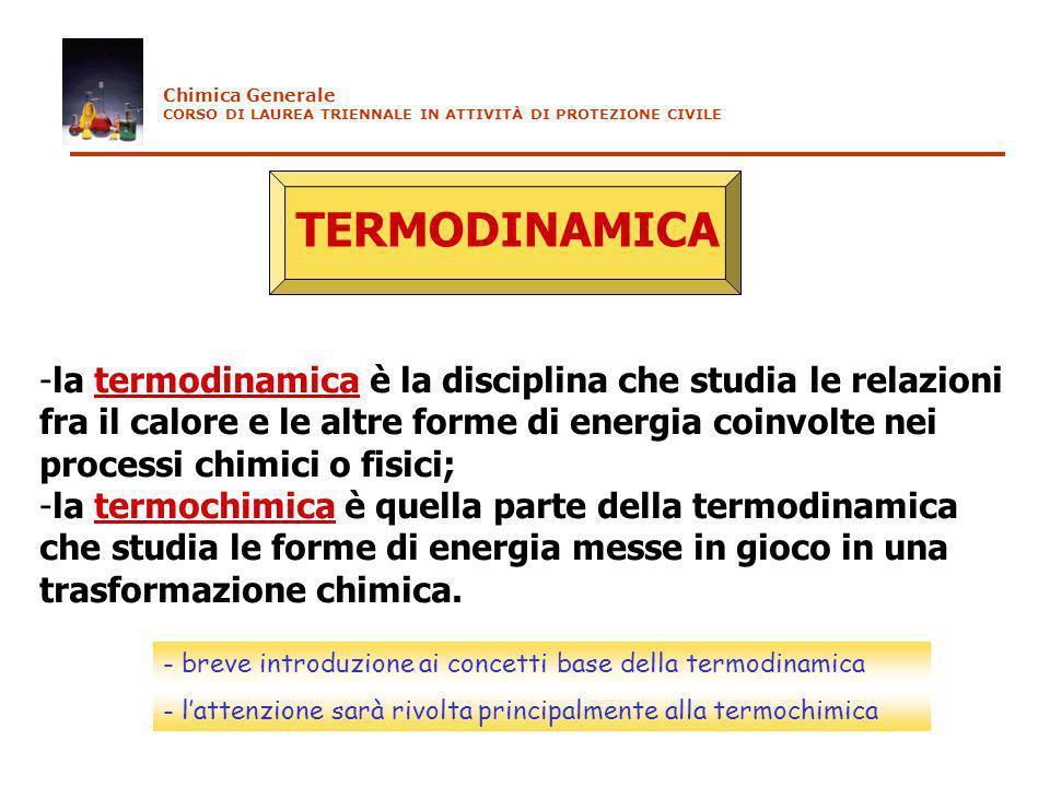 TERMODINAMICA -la termodinamica è la disciplina che studia le relazioni fra il calore e le altre forme di energia coinvolte nei processi chimici o fis