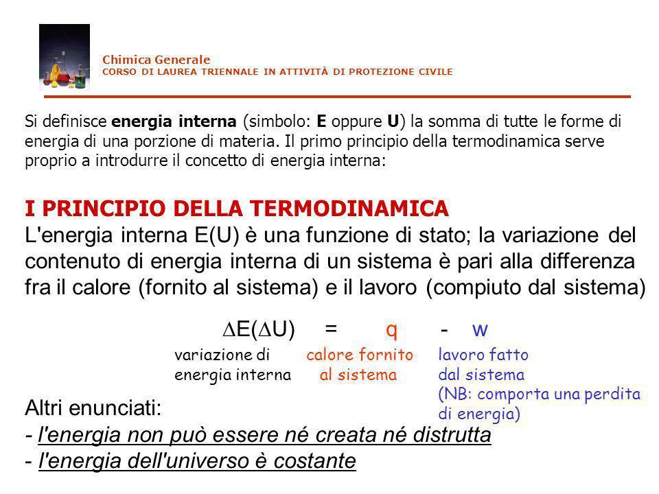 I PRINCIPIO DELLA TERMODINAMICA L'energia interna E(U) è una funzione di stato; la variazione del contenuto di energia interna di un sistema è pari al