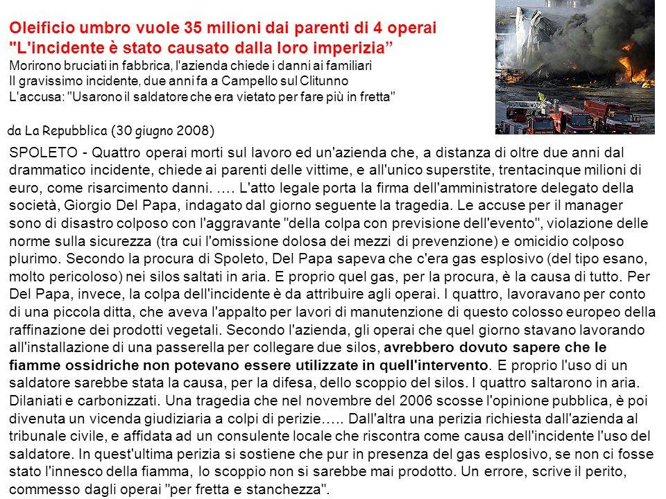 Oleificio umbro vuole 35 milioni dai parenti di 4 operai
