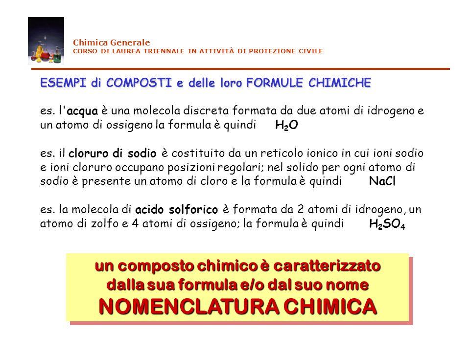 ESEMPI di COMPOSTI e delle loro FORMULE CHIMICHE ESEMPI di COMPOSTI e delle loro FORMULE CHIMICHE es. l'acqua è una molecola discreta formata da due a