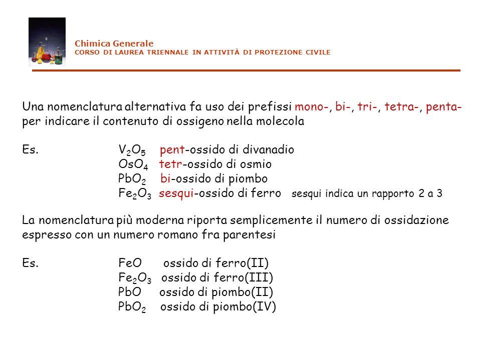 Una nomenclatura alternativa fa uso dei prefissi mono-, bi-, tri-, tetra-, penta- per indicare il contenuto di ossigeno nella molecola Es.V 2 O 5 pent
