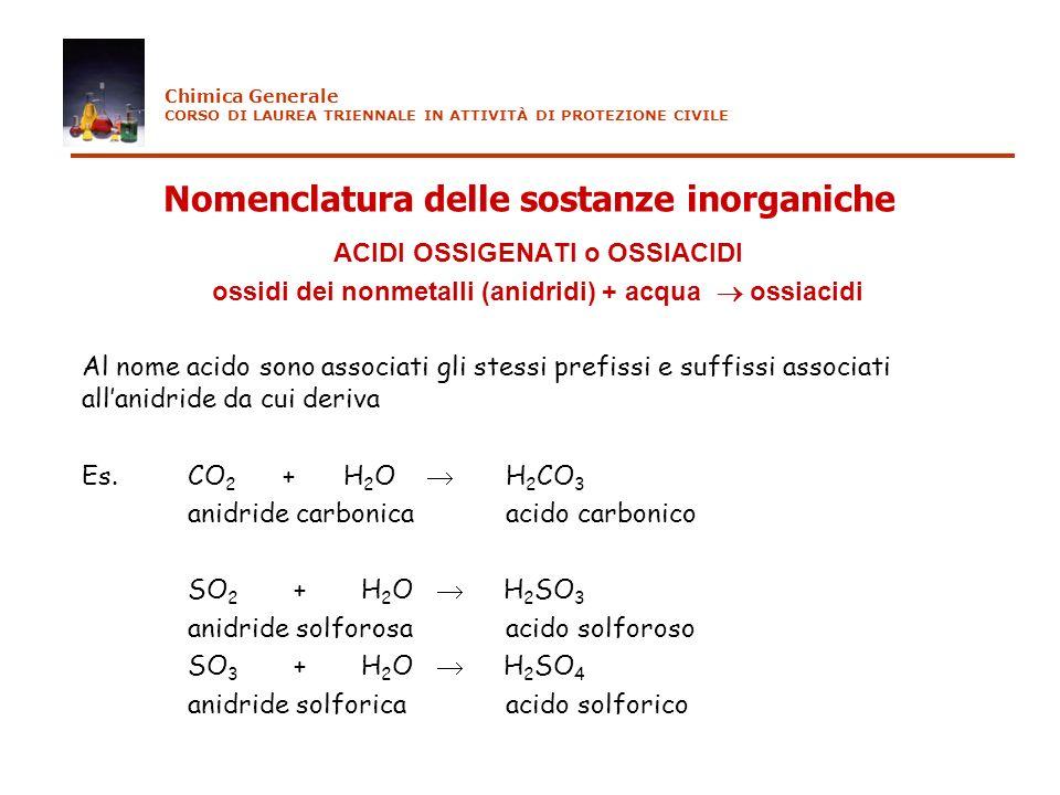 Nomenclatura delle sostanze inorganiche ACIDI OSSIGENATI o OSSIACIDI ossidi dei nonmetalli (anidridi) + acqua ossiacidi Al nome acido sono associati g