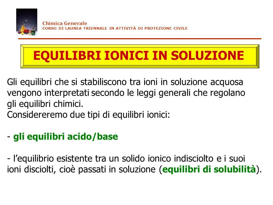 EQUILIBRI IONICI IN SOLUZIONE Gli equilibri che si stabiliscono tra ioni in soluzione acquosa vengono interpretati secondo le leggi generali che regol