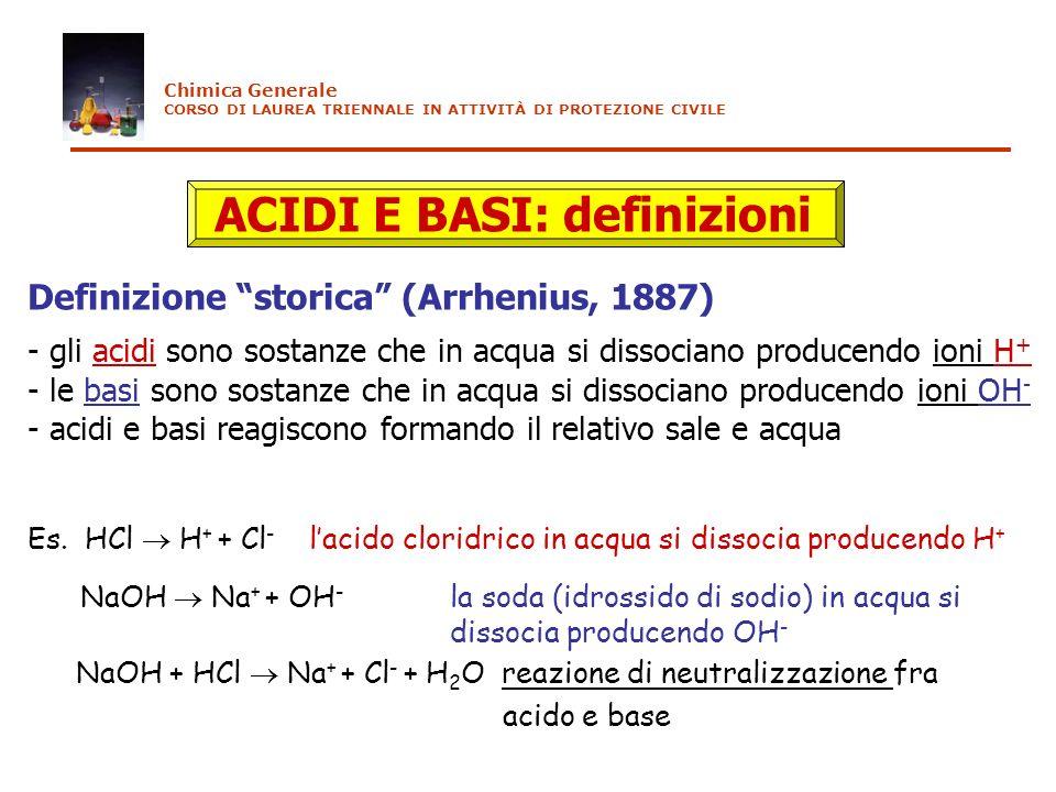 ACIDI E BASI: definizioni Definizione storica (Arrhenius, 1887) - gli acidi sono sostanze che in acqua si dissociano producendo ioni H + - le basi son