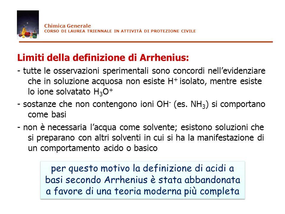 Limiti della definizione di Arrhenius: - tutte le osservazioni sperimentali sono concordi nellevidenziare che in soluzione acquosa non esiste H + isol