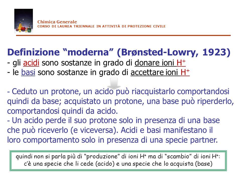 Definizione moderna (Brønsted-Lowry, 1923) - gli acidi sono sostanze in grado di donare ioni H + - le basi sono sostanze in grado di accettare ioni H