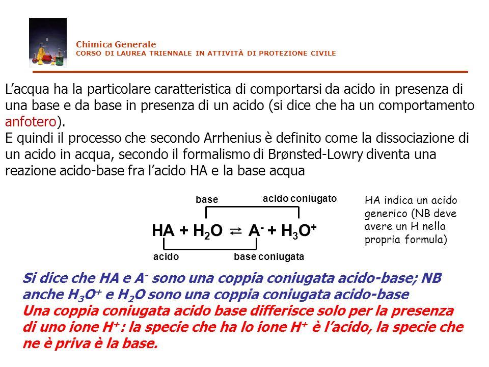 Lacqua ha la particolare caratteristica di comportarsi da acido in presenza di una base e da base in presenza di un acido (si dice che ha un comportam