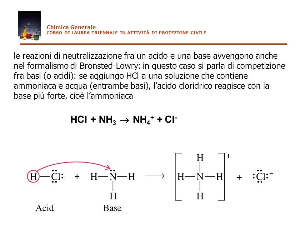 le reazioni di neutralizzazione fra un acido e una base avvengono anche nel formalismo di Bronsted-Lowry: in questo caso si parla di competizione fra