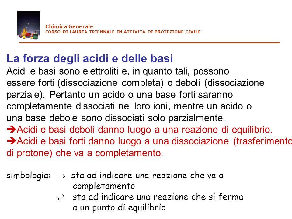 La forza degli acidi e delle basi Acidi e basi sono elettroliti e, in quanto tali, possono essere forti (dissociazione completa) o deboli (dissociazio