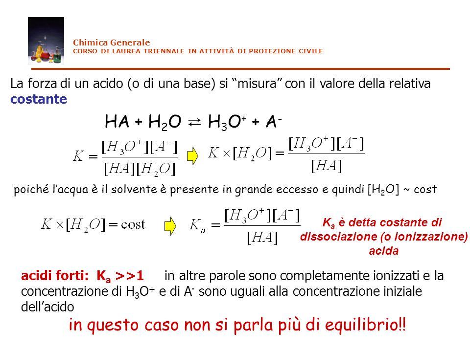 La forza di un acido (o di una base) si misura con il valore della relativa costante HA + H 2 O H 3 O + + A - K a è detta costante di dissociazione (o