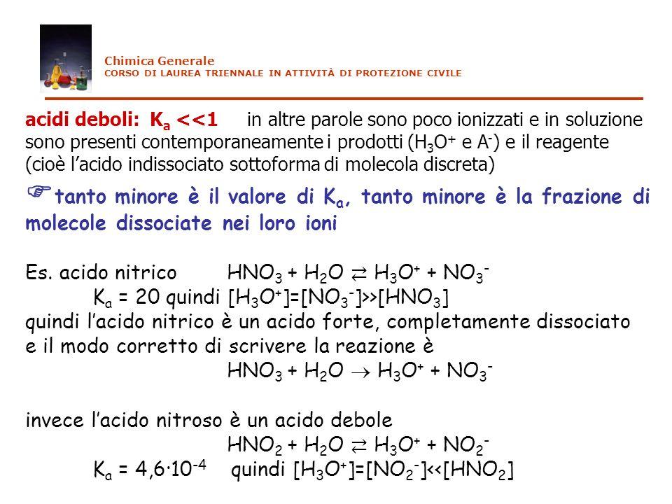 acidi deboli: K a <<1 in altre parole sono poco ionizzati e in soluzione sono presenti contemporaneamente i prodotti (H 3 O + e A - ) e il reagente (c