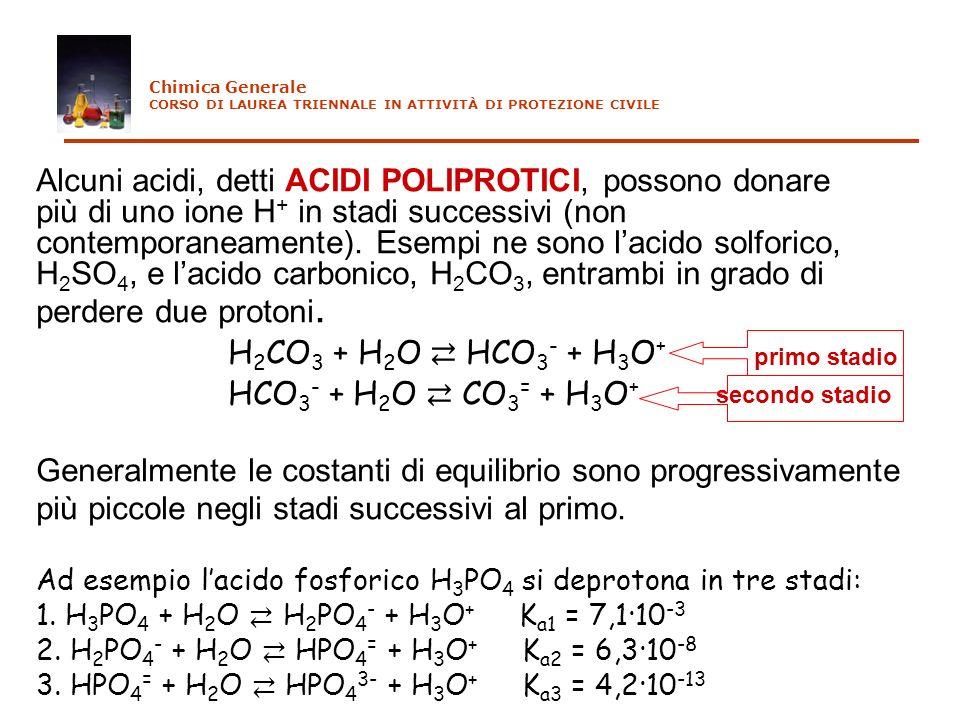Alcuni acidi, detti ACIDI POLIPROTICI, possono donare più di uno ione H + in stadi successivi (non contemporaneamente). Esempi ne sono lacido solforic