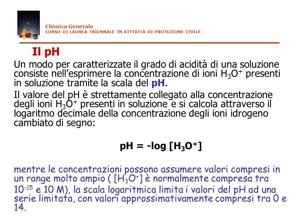 Il pH Un modo per caratterizzate il grado di acidità di una soluzione consiste nellesprimere la concentrazione di ioni H 3 O + presenti in soluzione t