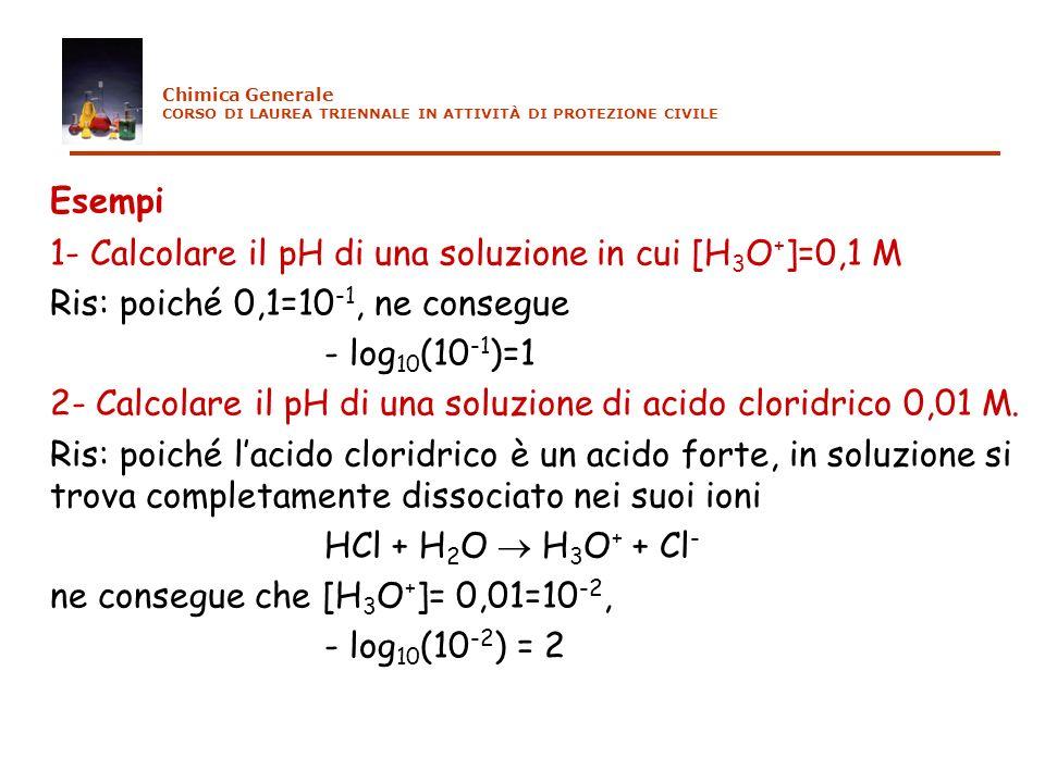 Esempi 1- Calcolare il pH di una soluzione in cui [H 3 O + ]=0,1 M Ris: poiché 0,1=10 -1, ne consegue - log 10 (10 -1 )=1 2- Calcolare il pH di una so