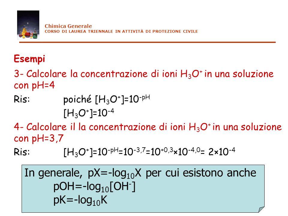 Esempi 3- Calcolare la concentrazione di ioni H 3 O + in una soluzione con pH=4 Ris: poiché [H 3 O + ]=10 -pH [H 3 O + ]=10 -4 4- Calcolare il la conc