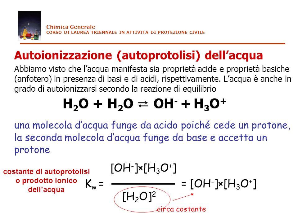 Autoionizzazione (autoprotolisi) dellacqua Abbiamo visto che lacqua manifesta sia proprietà acide e proprietà basiche (anfotero) in presenza di basi e