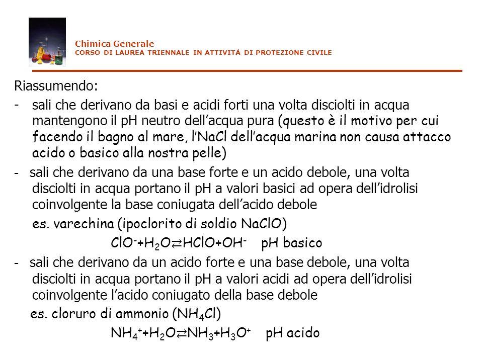 Riassumendo: - sali che derivano da basi e acidi forti una volta disciolti in acqua mantengono il pH neutro dellacqua pura (questo è il motivo per cui