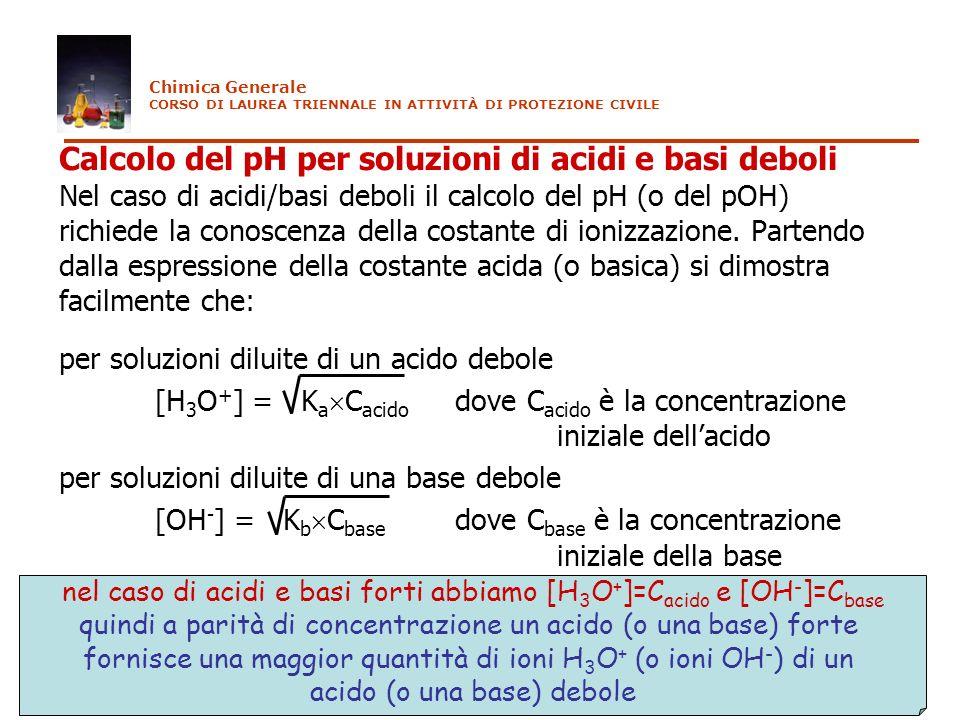 Calcolo del pH per soluzioni di acidi e basi deboli Nel caso di acidi/basi deboli il calcolo del pH (o del pOH) richiede la conoscenza della costante