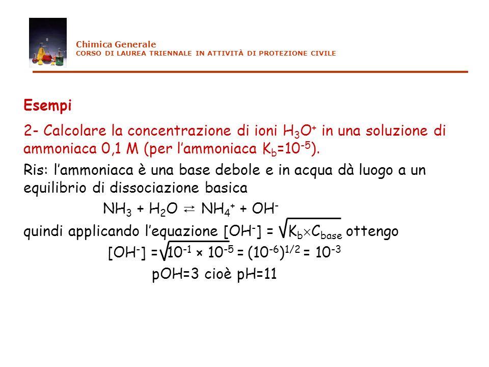 Esempi 2- Calcolare la concentrazione di ioni H 3 O + in una soluzione di ammoniaca 0,1 M (per lammoniaca K b =10 -5 ). Ris: lammoniaca è una base deb