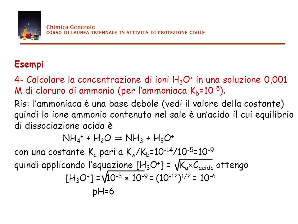 Esempi 4- Calcolare la concentrazione di ioni H 3 O + in una soluzione 0,001 M di cloruro di ammonio (per lammoniaca K b =10 -5 ). Ris: lammoniaca è u
