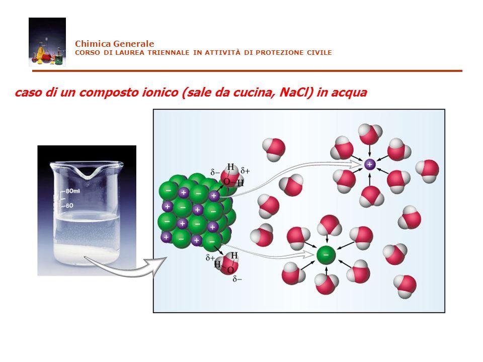 Solubilità La quantità di sale che è passata in soluzione si esprime in maniera conveniente con la solubilità, definita come il numero di moli di sale che si sciolgono per litro di soluzione (ha le unità di una concentrazione) es.AgCl (s) Ag + (aq) + Cl - (aq) s (AgCl) = numero di moli di AgCl che si sono disciolte in un litro di soluzione dalla equazione bilanciata segue immediatamente che s (AgCl) =[Ag + ]=[Cl - ] da cui consegue che K ps = [Ag + ] [Cl - ] = s 2 cioè esiste una relazione matematica fra il prodotto di solubilità e la solubilità Chimica Generale CORSO DI LAUREA TRIENNALE IN ATTIVITÀ DI PROTEZIONE CIVILE