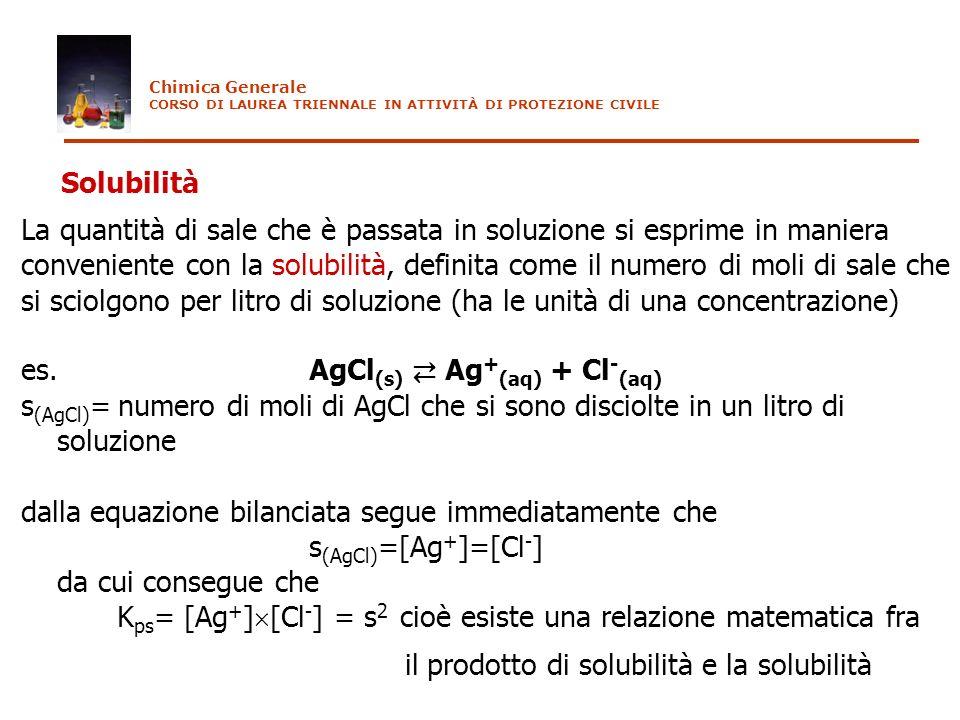 Solubilità La quantità di sale che è passata in soluzione si esprime in maniera conveniente con la solubilità, definita come il numero di moli di sale