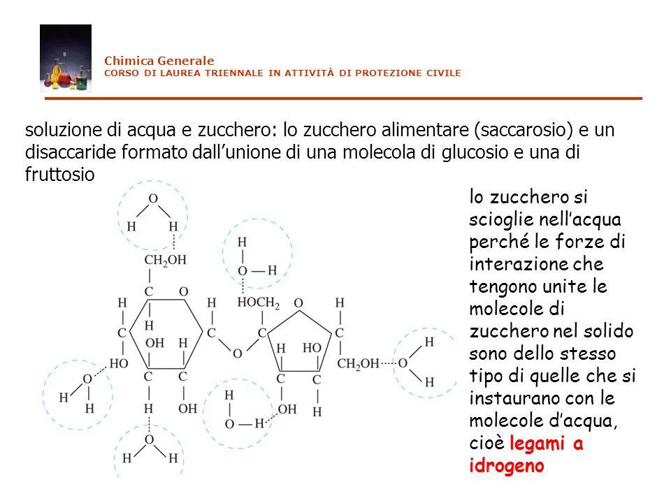 soluzione di acqua e zucchero: lo zucchero alimentare (saccarosio) e un disaccaride formato dallunione di una molecola di glucosio e una di fruttosio