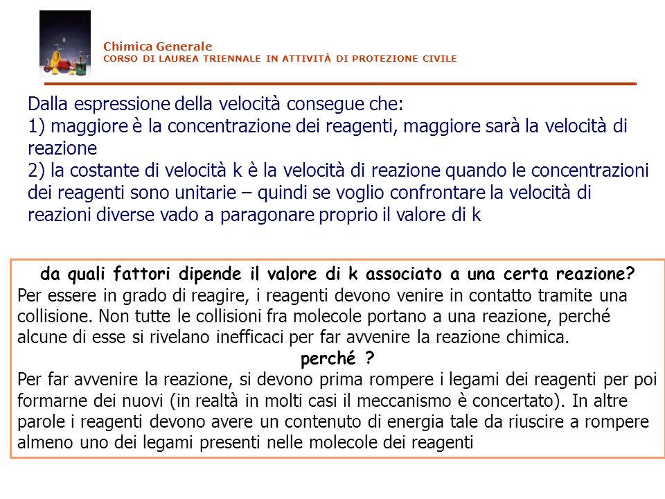 Dalla espressione della velocità consegue che: 1) maggiore è la concentrazione dei reagenti, maggiore sarà la velocità di reazione 2) la costante di v