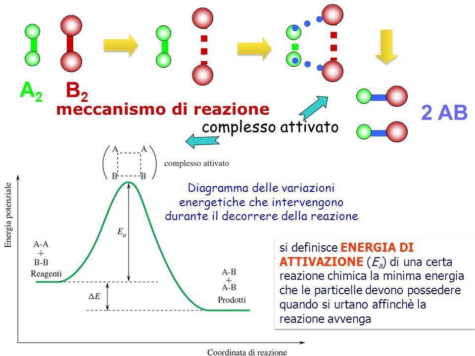 A2A2 B2B2 2 AB complesso attivato meccanismo di reazione si definisce ENERGIA DI ATTIVAZIONE (E a ) di una certa reazione chimica la minima energia ch