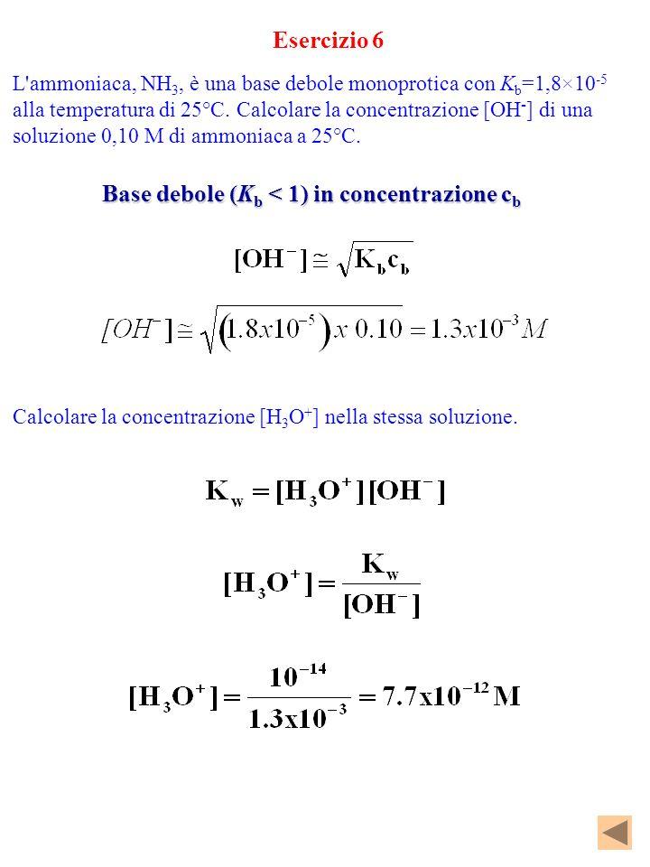 Esercizio 6 L'ammoniaca, NH 3, è una base debole monoprotica con K b =1,8×10 -5 alla temperatura di 25°C. Calcolare la concentrazione [OH - ] di una s