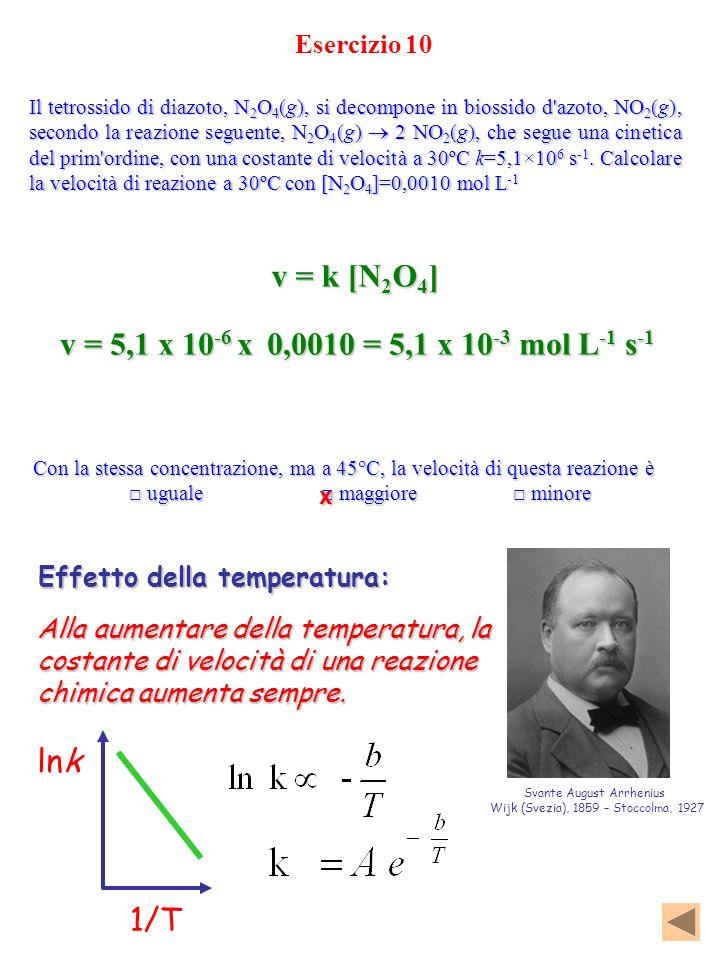 Esercizio 10 Con la stessa concentrazione, ma a 45°C, la velocità di questa reazione è uguale maggiore minore uguale maggiore minore Il tetrossido di