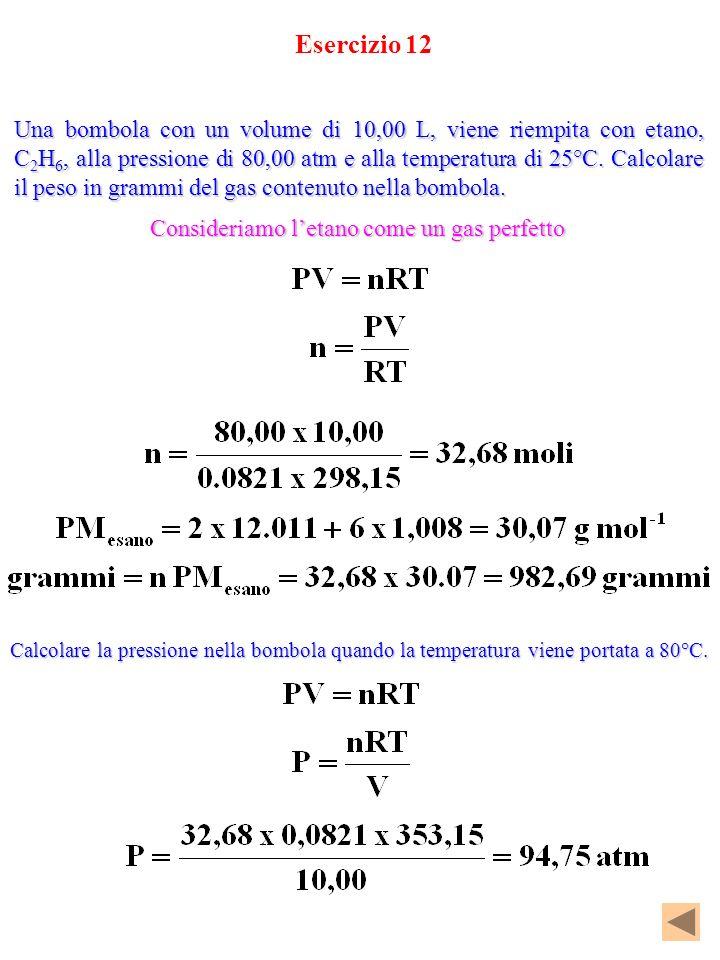 Esercizio 12 Una bombola con un volume di 10,00 L, viene riempita con etano, C 2 H 6, alla pressione di 80,00 atm e alla temperatura di 25°C. Calcolar