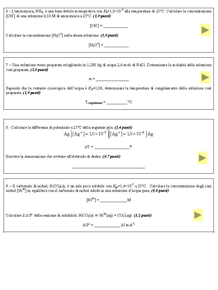 Esercizio 8 Calcolare la differenza di potenziale a 25ºC della seguente pila: Scrivere la semireazione che avviene all elettrodo di destra: c 1 < c 2 catodo a destra c 1 > c 2 catodo a sinistra c 1 c 2 Elettrodo a destra: catodo riduzione Ag + (aq) + e - Ag(s)