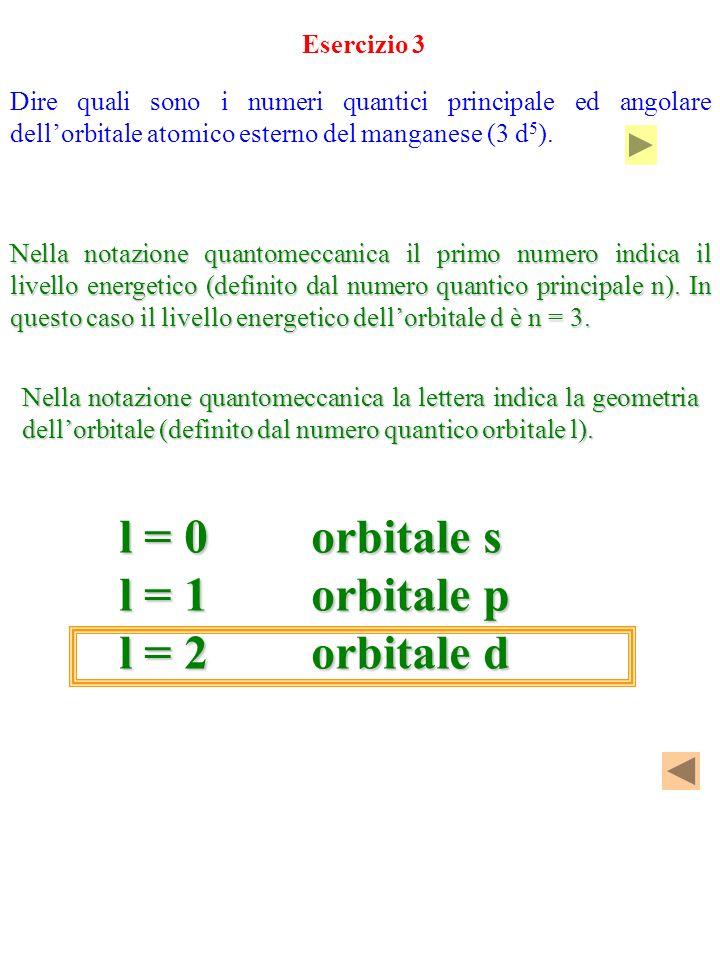 Dire quali sono i numeri quantici principale ed angolare dellorbitale atomico esterno del manganese (3 d 5 ). Esercizio 3 Nella notazione quantomeccan