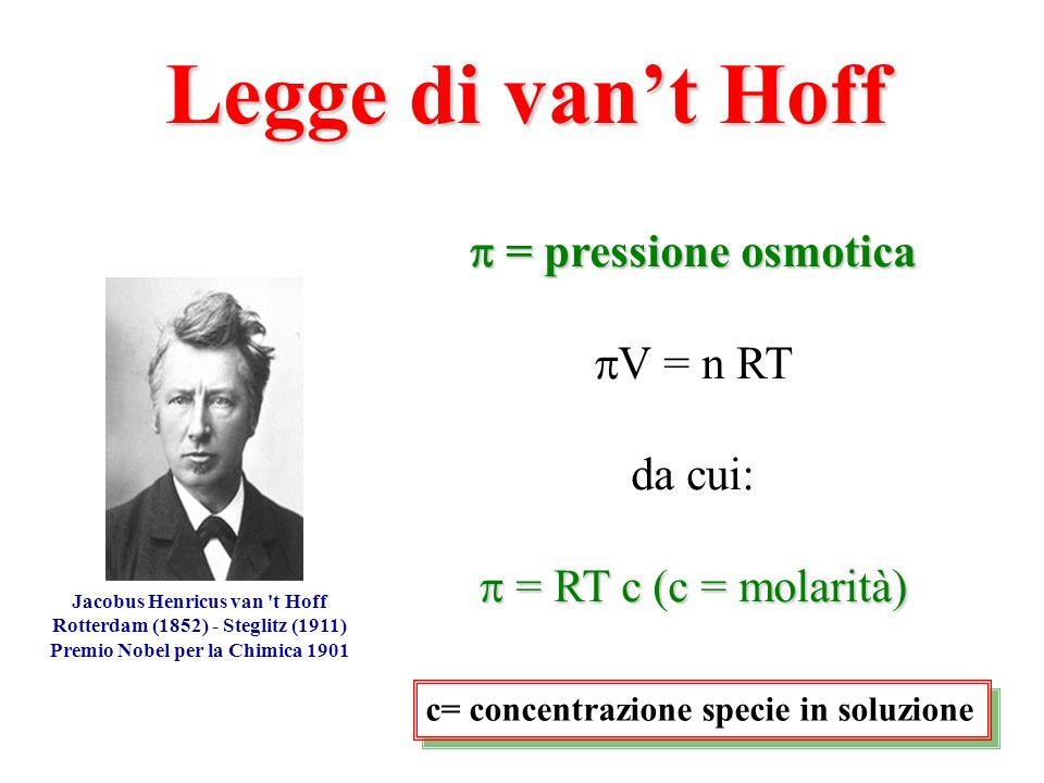 = pressione osmotica = pressione osmotica V = n RT da cui: = RT c (c = molarità) = RT c (c = molarità) Jacobus Henricus van 't Hoff Rotterdam (1852) -