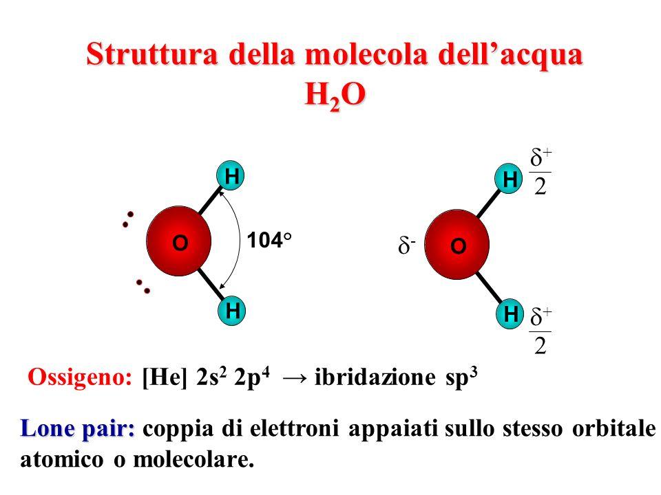 Struttura della molecola dellacqua H 2 O H H O 104° Ossigeno: [He] 2s 2 2p 4 ibridazione sp 3 Lone pair: Lone pair: coppia di elettroni appaiati sullo