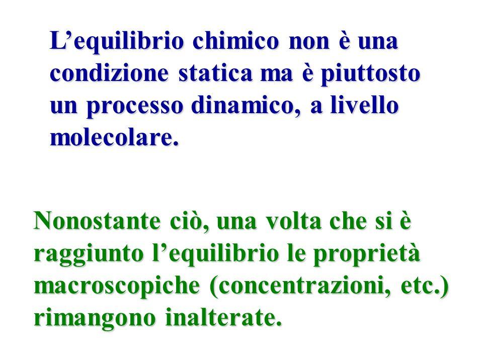 Lequilibrio chimico non è una condizione statica ma è piuttosto un processo dinamico, a livello molecolare. Nonostante ciò, una volta che si è raggiun