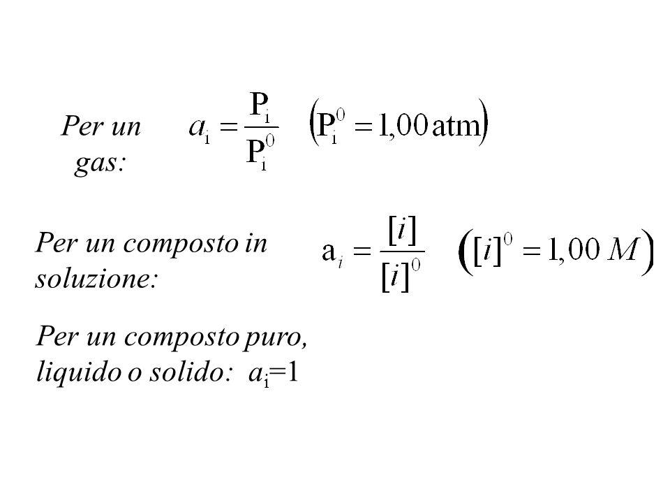 Per un gas: Per un composto in soluzione: Per un composto puro, liquido o solido: a i =1