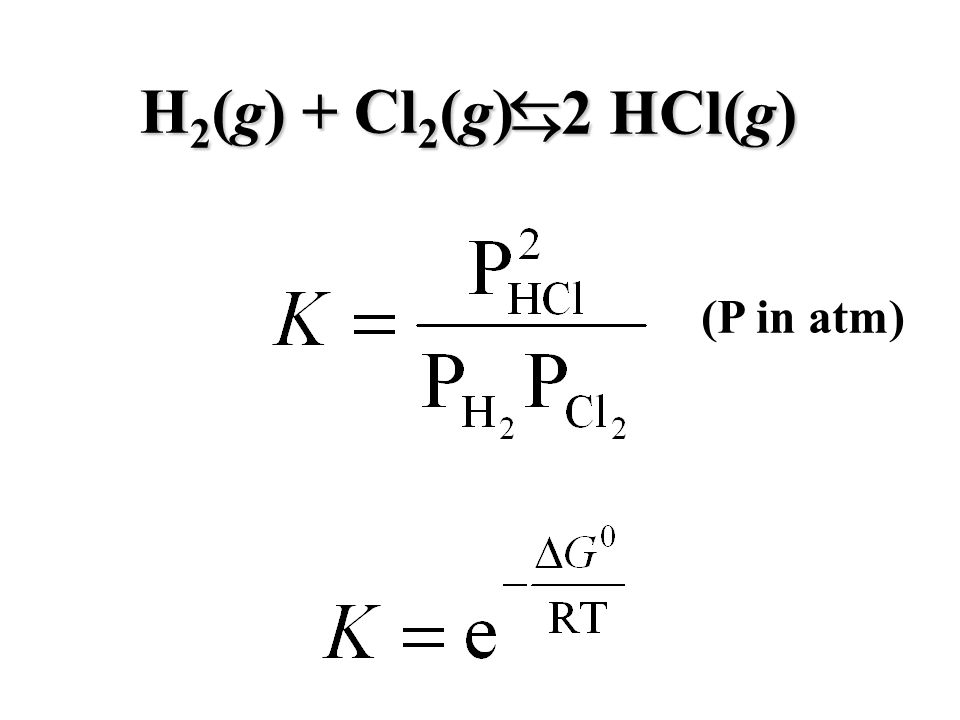 H 2 (g) + Cl 2 (g) 2 HCl(g) (P in atm)
