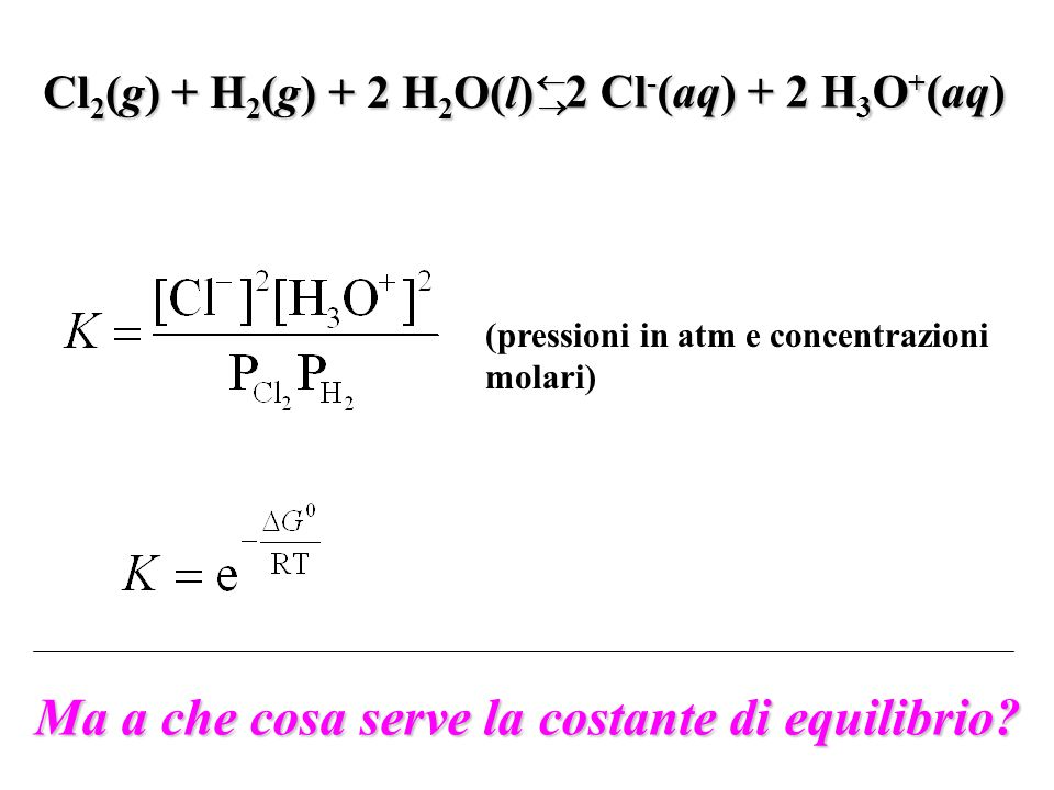 (pressioni in atm e concentrazioni molari) Cl 2 (g) + H 2 (g) + 2 H 2 O(l) 2 Cl - (aq) + 2 H 3 O + (aq) Ma a che cosa serve la costante di equilibrio?
