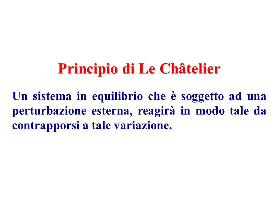 Principio di Le Châtelier Un sistema in equilibrio che è soggetto ad una perturbazione esterna, reagirà in modo tale da contrapporsi a tale variazione