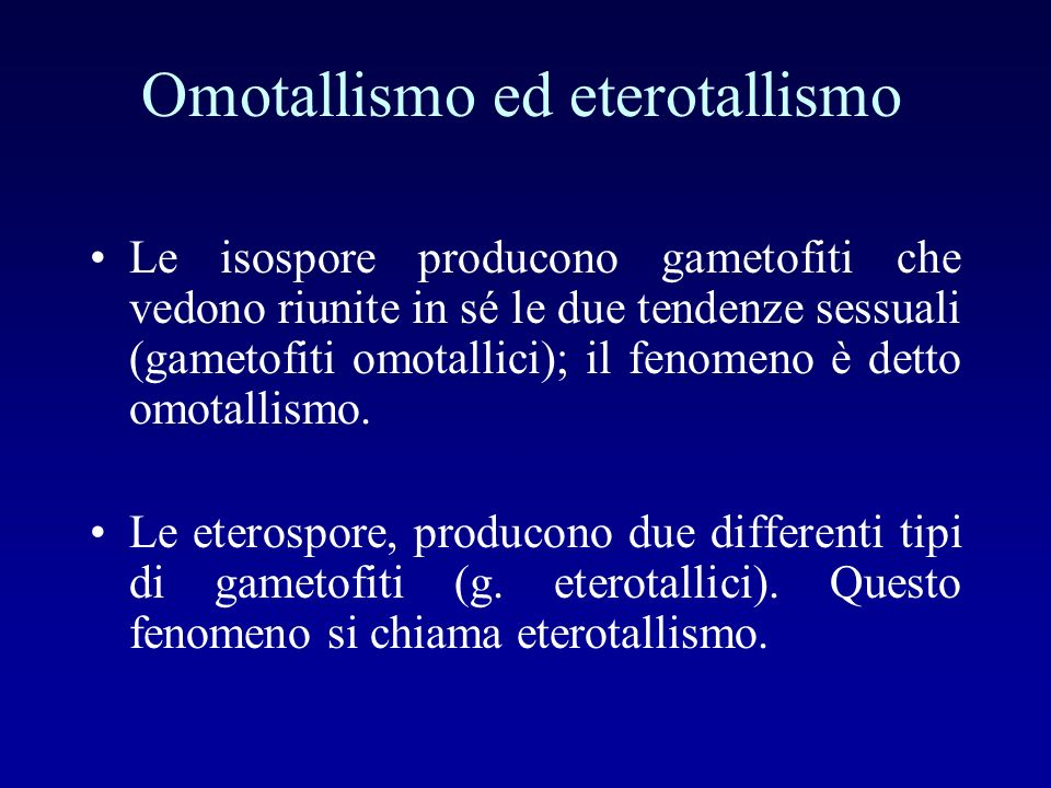 Omotallismo ed eterotallismo Le isospore producono gametofiti che vedono riunite in sé le due tendenze sessuali (gametofiti omotallici); il fenomeno è